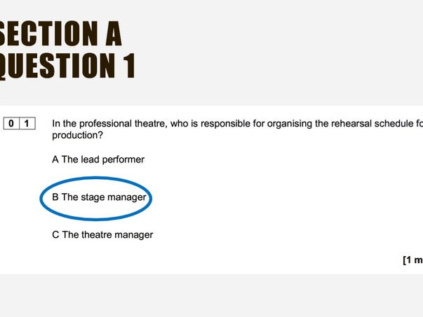 AQA GCSE Drama (NEW SPECIFICATION/SPEC) Component 1: Section A