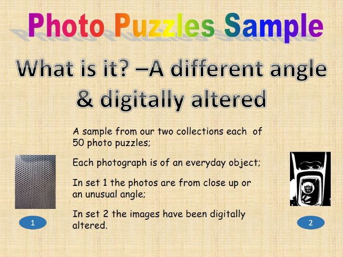 Photo puzzles (sample)