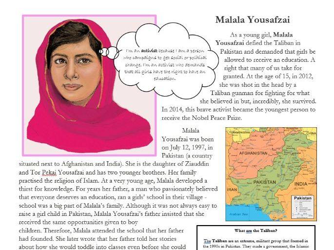 Reading comprehension: Malala Yousafzai