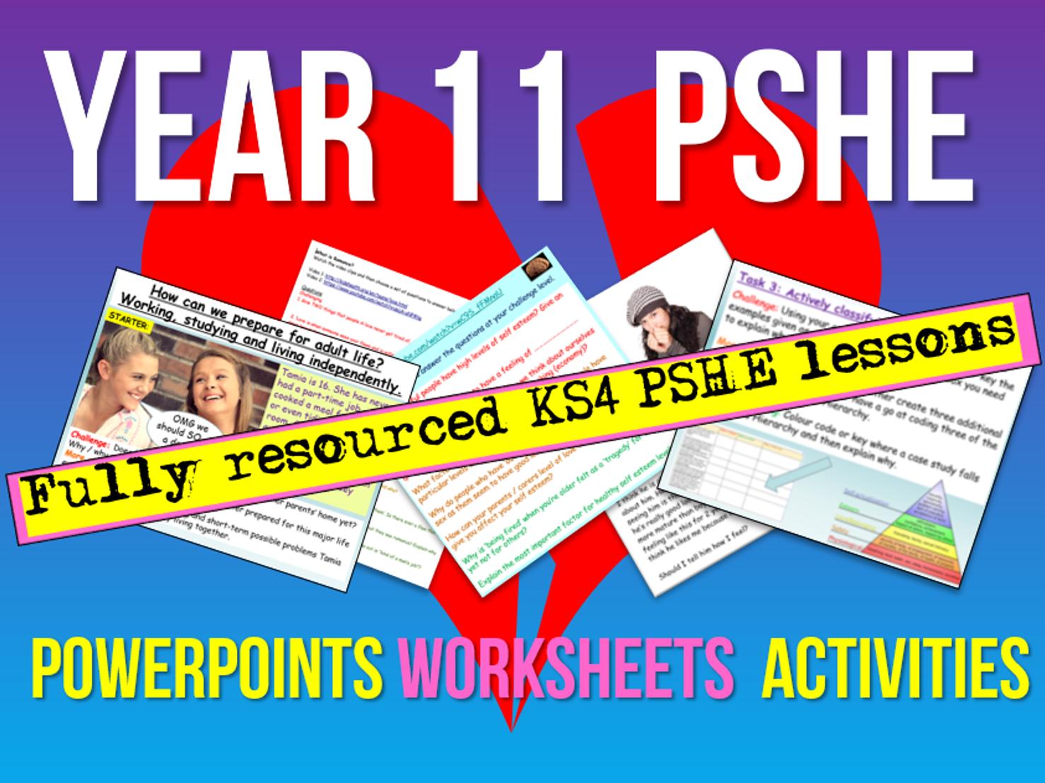 PSHE: Year 11 / KS4