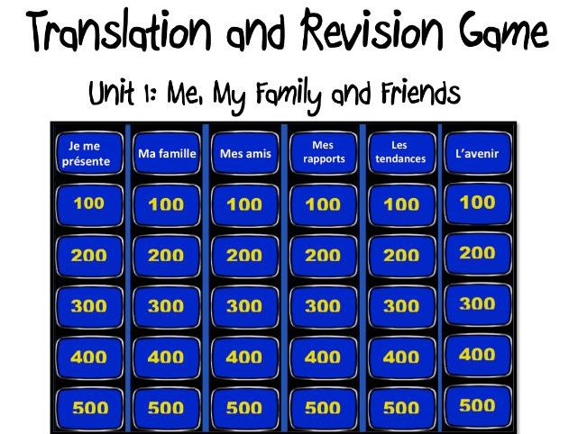 Translation and Revision Game- Unit1: Me, my family and friends- GCSE French