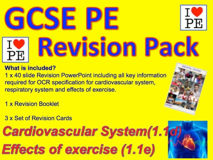 GCSE PE Cardiovascular System, Respiratory System and Effects of exercise Revision Pack