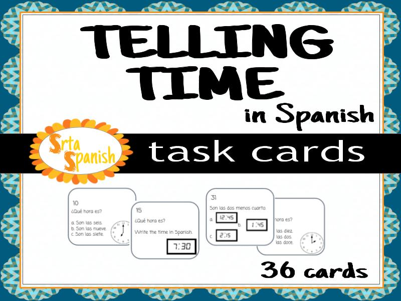 Telling Time- Spanish Task Cards