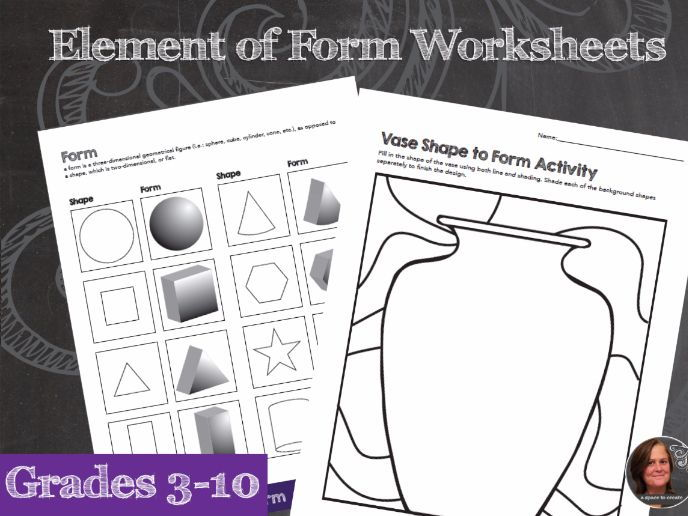 Elements of Art Worksheets - Form & Mini Art Lesson Sheets