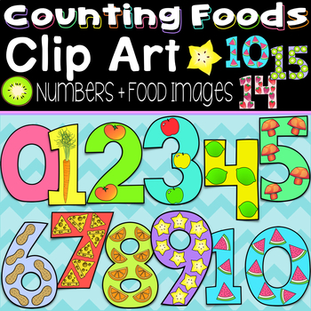 Counting With Foods Clipart Bundle Color & B&W Numbers + Individual Food Images