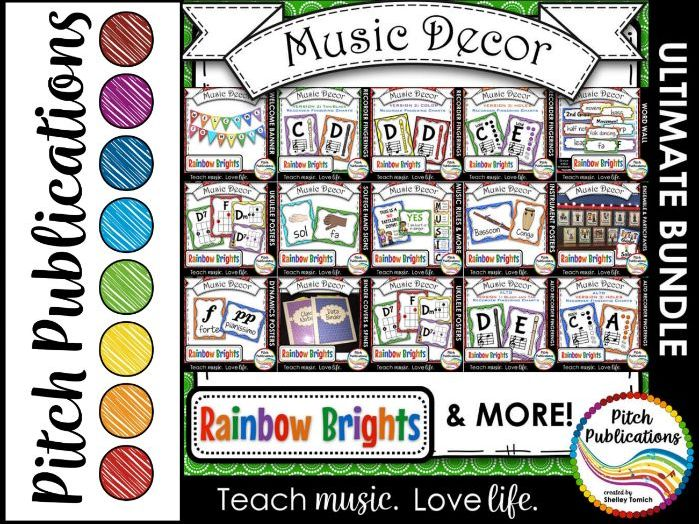 Music Decor BUNDLE - RAINBOW BRIGHTS - posters, word wall, class rules, binders!
