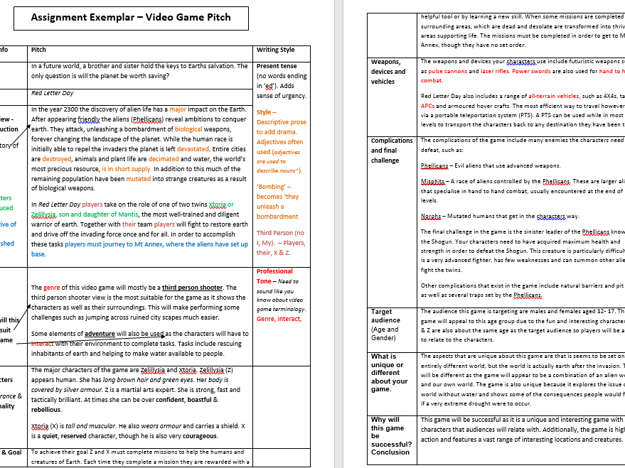 Video Game Pitch Task - Example response and Teacher's copy (Annotated Exemplar)