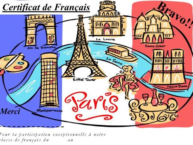 General French certificate 16/ Certificat de francais 16
