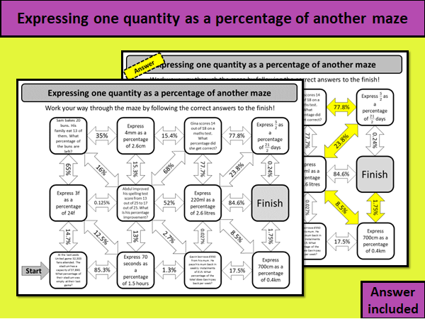 Expressing one quantity as a percentage of another maze