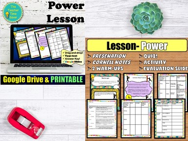 Energy Power and Work Lesson- Physical Science Unit