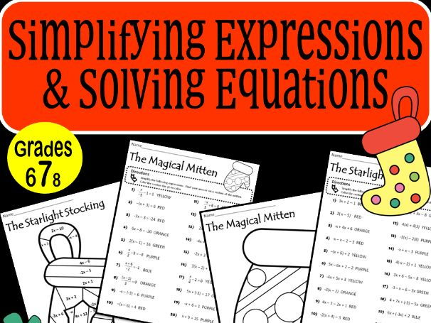 Simplifying Expressions & Solving Equations Christmas Holiday Coloring Activity