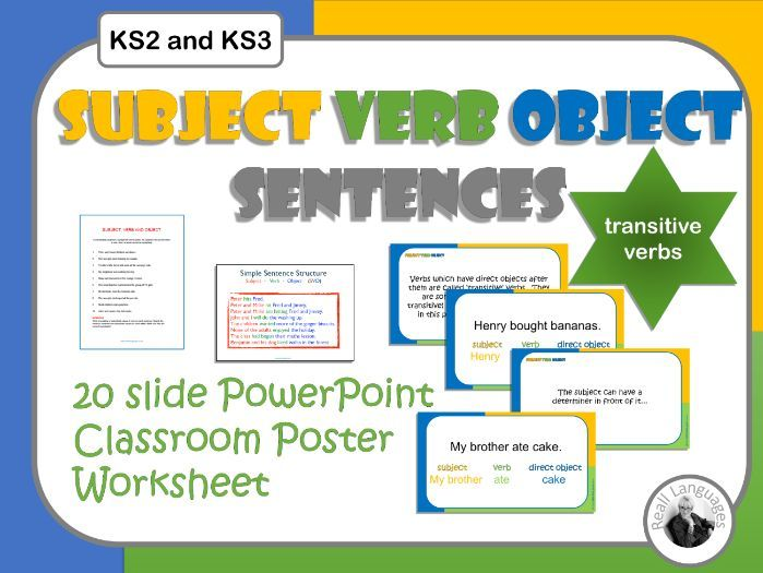 English Subject - Verb - Object: 20 slide PowerPoint presentation  plus worksheet with answers.