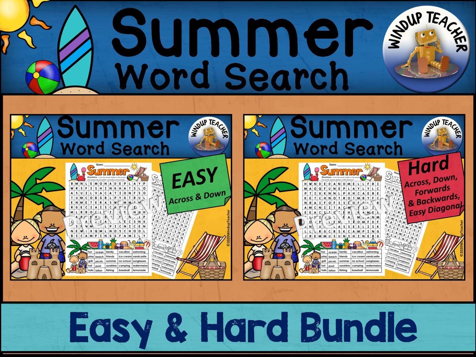 Summer Word Search BUNDLE - Easy and Hard Bundle