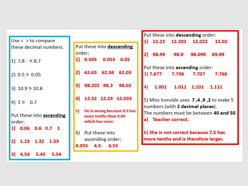 Compare and order decimal numbers
