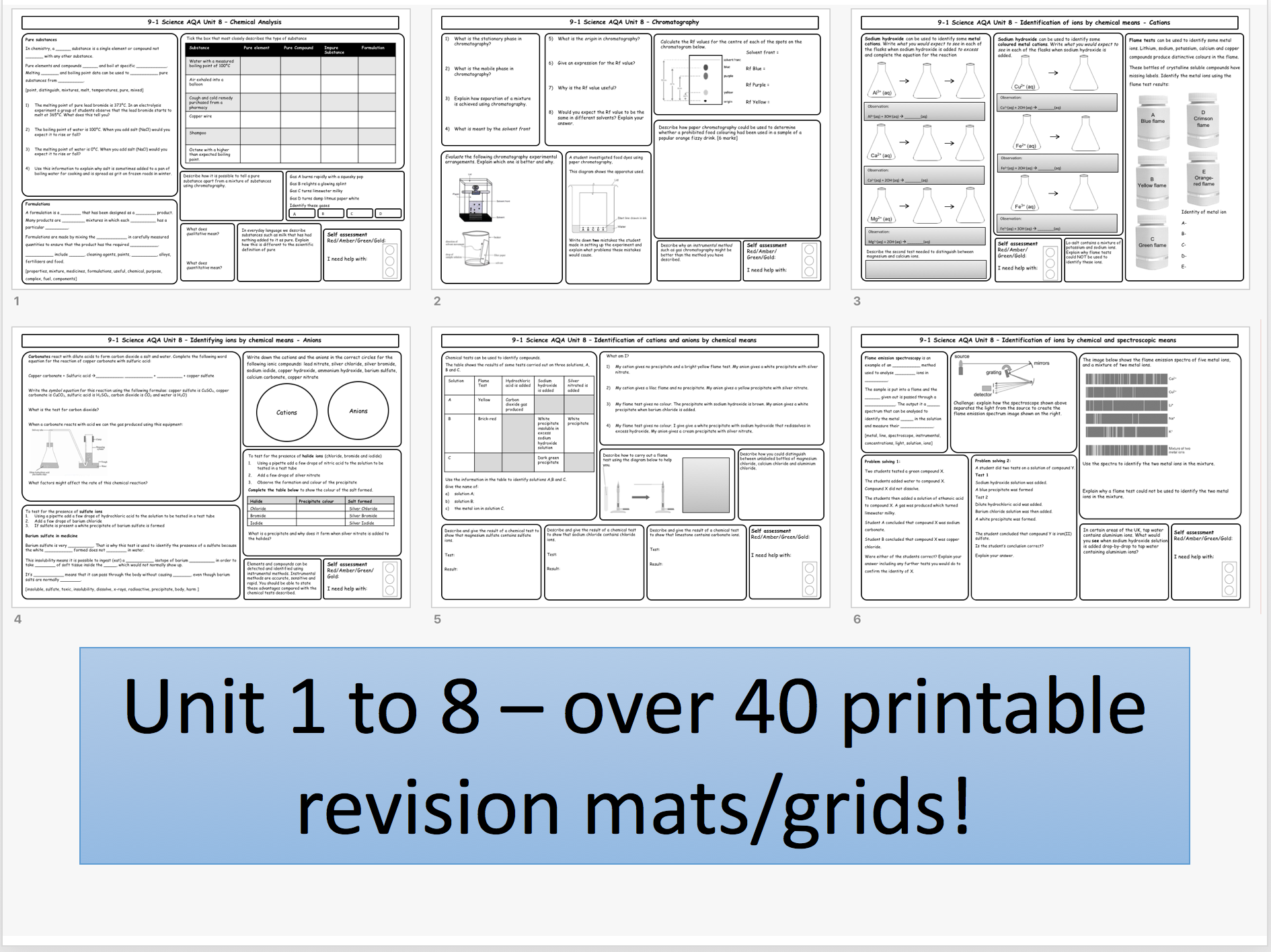 AQA GCSE Revision Mat Bundle for Chemistry Unit 1-8