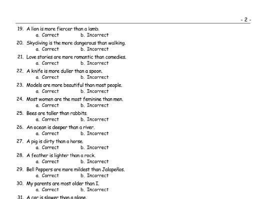 Comparative Adjectives Correct-Incorrect Exam