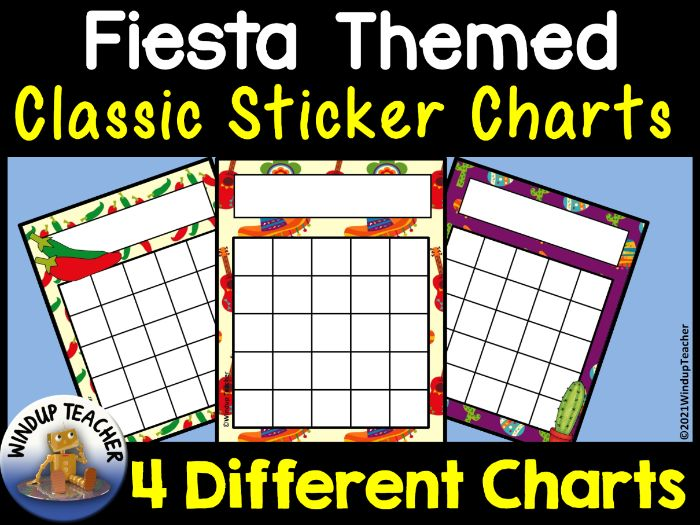 Fiesta Theme Sticker Charts - Mexico