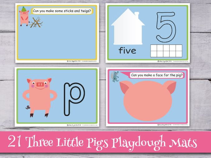 The Three Little Pigs Playdough Mats