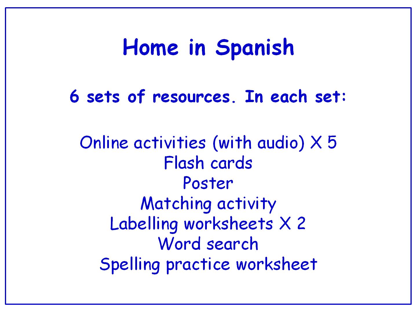 Home in Spanish  Worksheets, Games, Activities and Flash Cards (with audio) Bundle (6 sets)