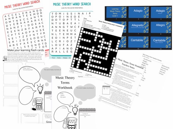 music theory learning pack grade 1, music notes motif, power point, crossword, word search