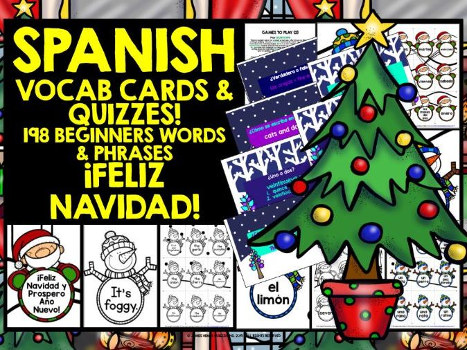 SPANISH VOCABULARY CHRISTMAS GAMES CARDS & QUIZZES