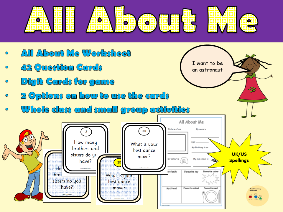 All About Me: 42 Question Cards and Worksheet Activity