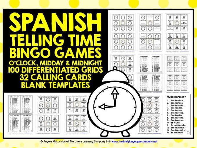 PRIMARY SPANISH TELLING TIME BINGO 1