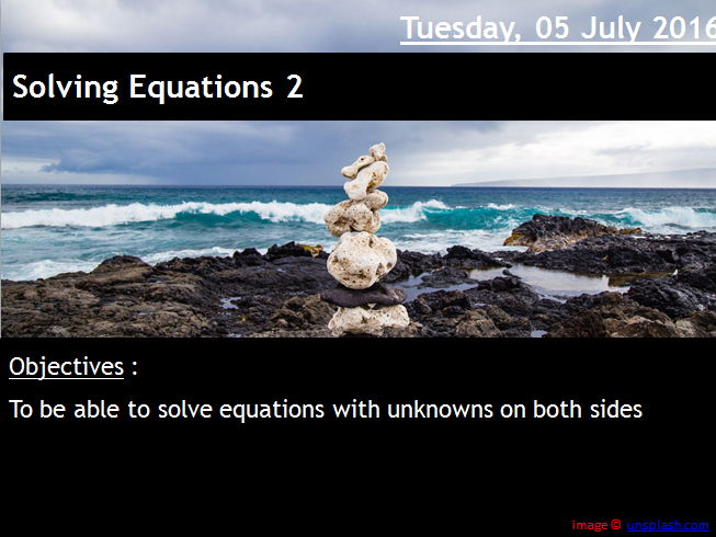 ProjectALesson Solving Equations : Unknowns on both sides