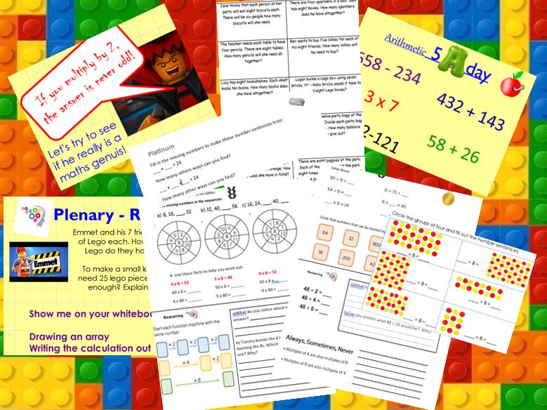 8 Times Table Maths KS2 weekly lesson bundle