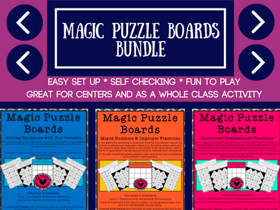 Mathematics Magic Puzzle Boards Grades 4-6