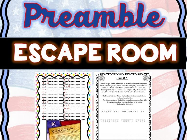 Preamble Escape Room: U.S. Constitution