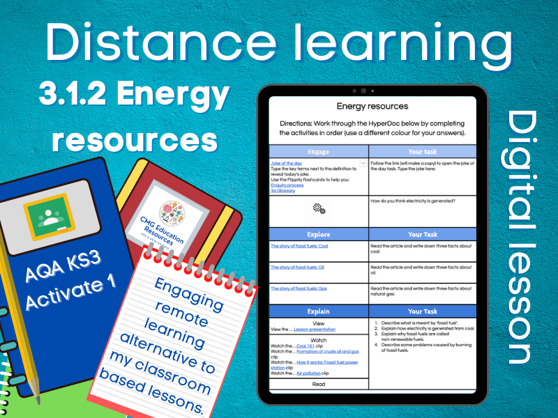 3.1.2 Energy resources: Distance learning (AQA KS3 Activate 1)