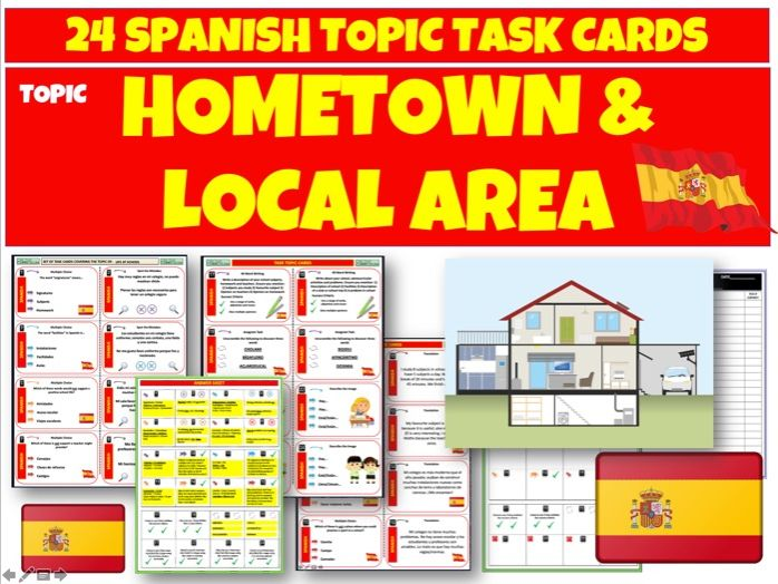 Hometown and Local Area - Spanish Task Cards