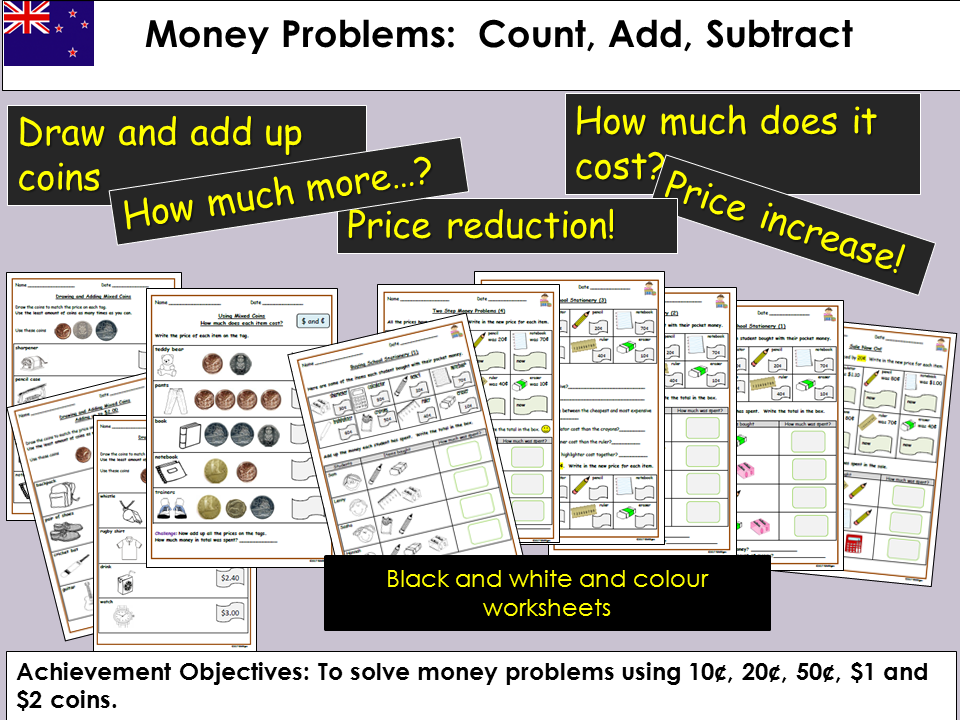 Money Problem Questions, Count, Add, Subtract, Draw coins to match price tags, Worksheets