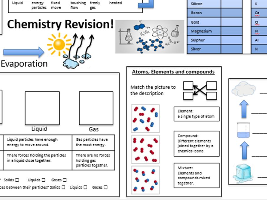 Elements compounds mixtures worksheet