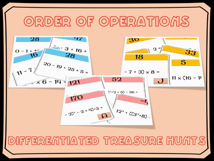 BIDMAS: BIDMAS treasure hunts (order of operations)