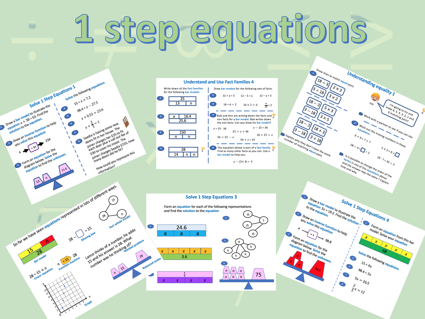 1 step equations