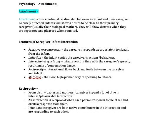 Attachment Notes (AQA Psychology A-Level)