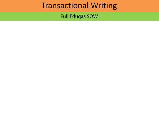EDUQAS (1-9) Transactioanl Writing SOW