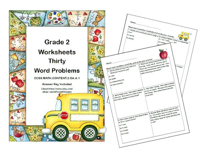 Word Problems-Second Grade-Worksheets-School Theme