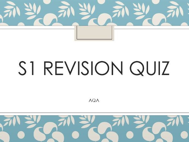 S1 Revision Quiz AQA GCE specification