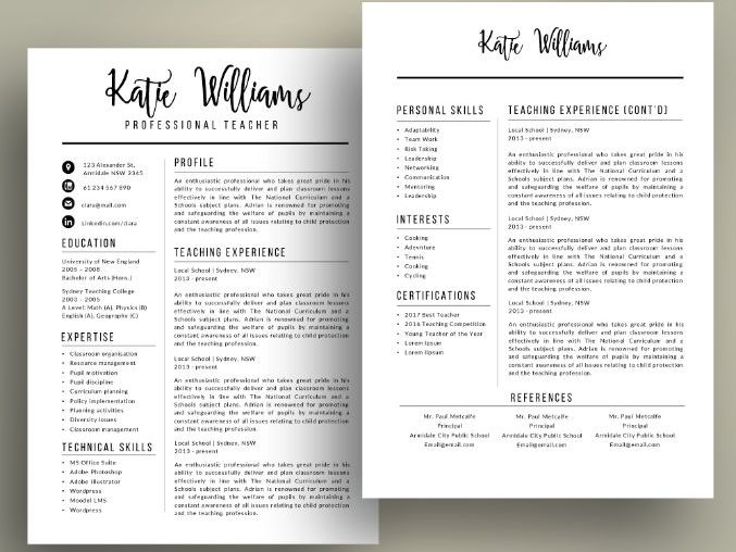 TeacherS Resume Template For Ms Word Elementary Cv Design Digital