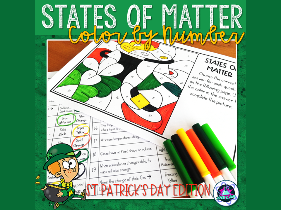 States of Matter Colour by Number (St Patrick's Day)
