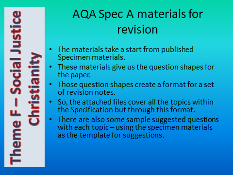 AQA GCSE (9-1) RS Spec A - Revision materials - Theme F Human Rights &  Social Justice- Christianity