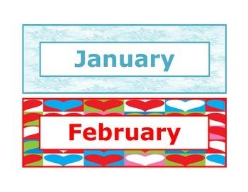 Calendar headings seasonal in English
