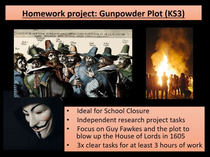 Home learning KS3 History Stuarts Gunpowder Plot - ideal for school closures
