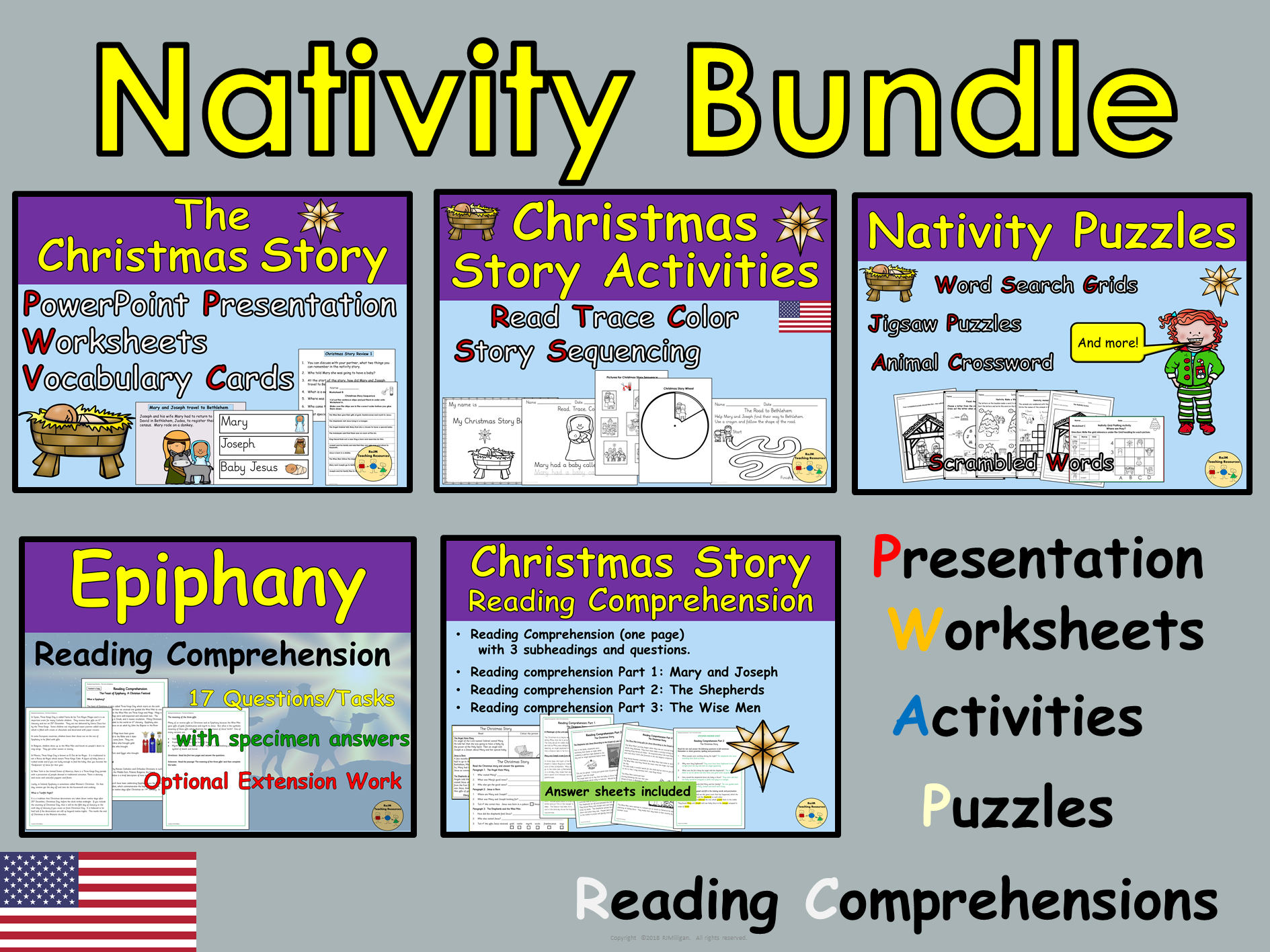 Christmas Bundle Christmas Story Nativity Epiphany Worksheets Activities Reading Comprehension Passages Presentation - US