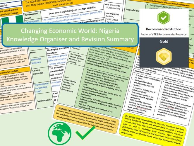 GCSE AQA 9-1 : Nigeria Case Study, Economic World, Knowledge Organisers and Revision Summaries.