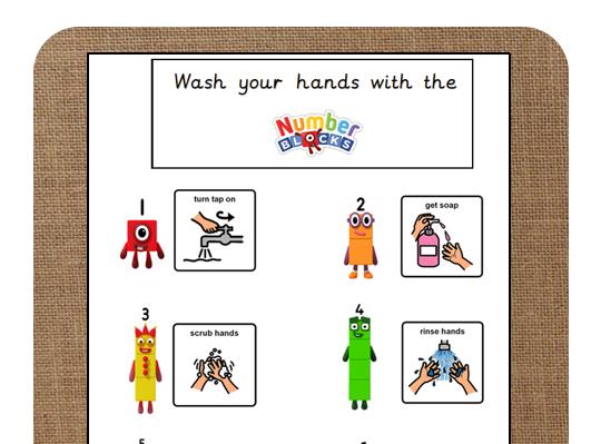 Numberblocks Wash hands poster