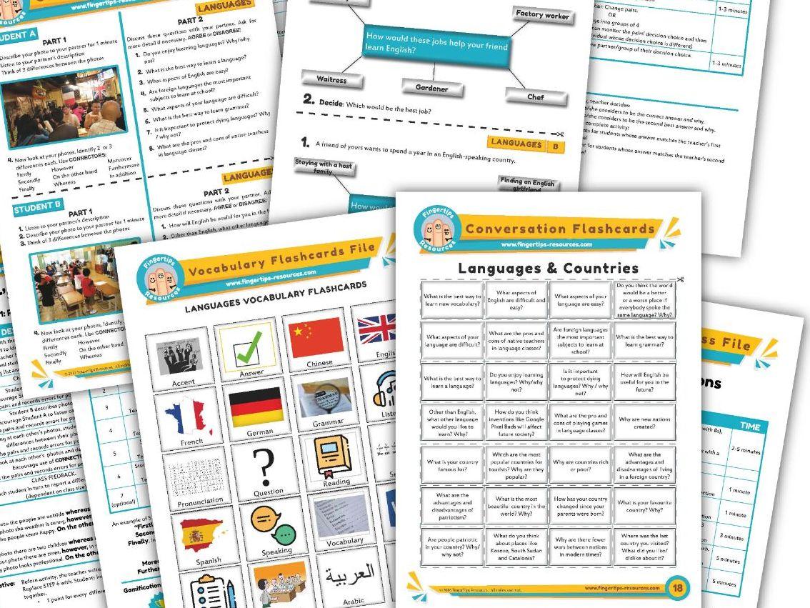 Learning Languages Unit - ESL Activity Bundle